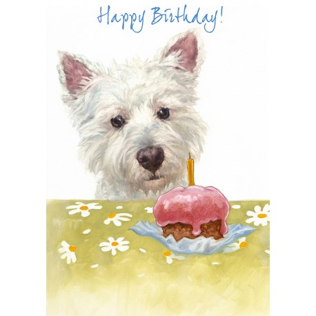 westie birthday card ; westie-birthday-cake-card