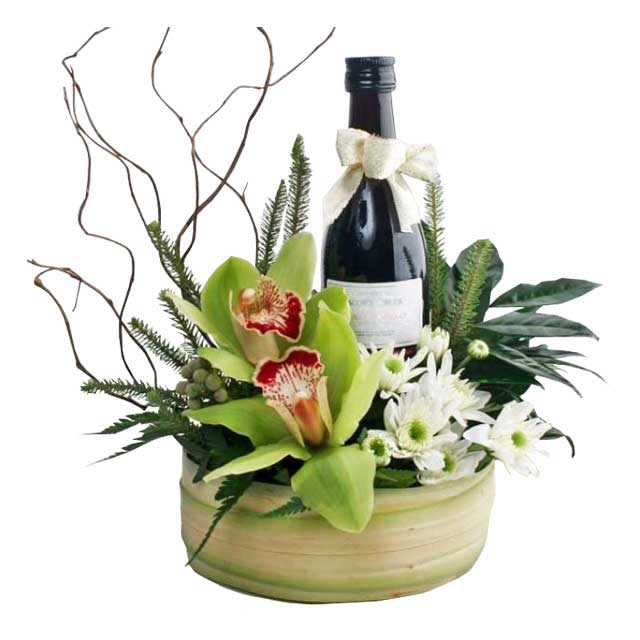 wine birthday gift delivery ; birthday-delivery-bf4130-arrangement-cymbidium-orchids-red_BF4130_SG