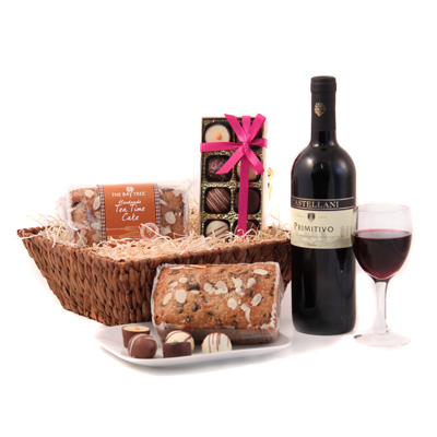 wine birthday gift delivery ; birthday-present-delivery-uk-red-wine-chocolate-and-cake-hamper-exclusive-hamper