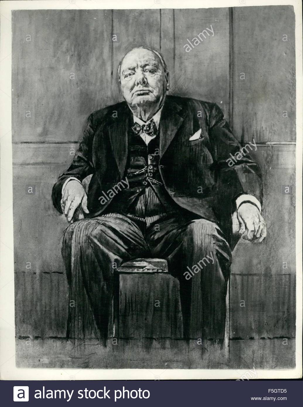 winston churchill 80th birthday picture ; 1949-the-portrait-painted-by-mr-graham-sutherland-presented-to-sir-F5GTD5
