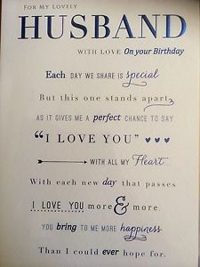 words for husbands birthday card ; s-l300