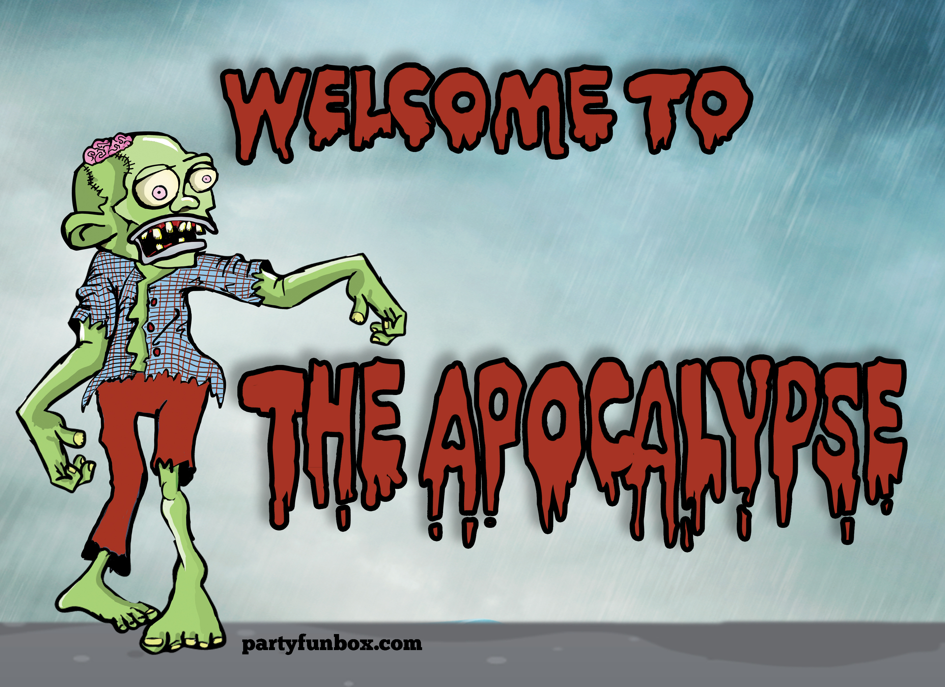 zombie birthday card printable ; Zombie-Welcome-Sign